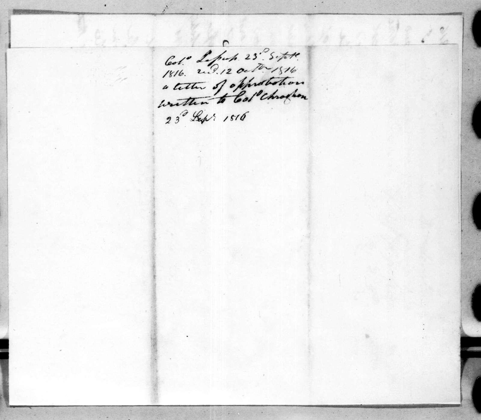 Thomas Sidney Jesup to Andrew Jackson, September 23, 1816