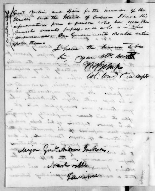 Thomas Sidney Jesup to Andrew Jackson, September 5, 1816
