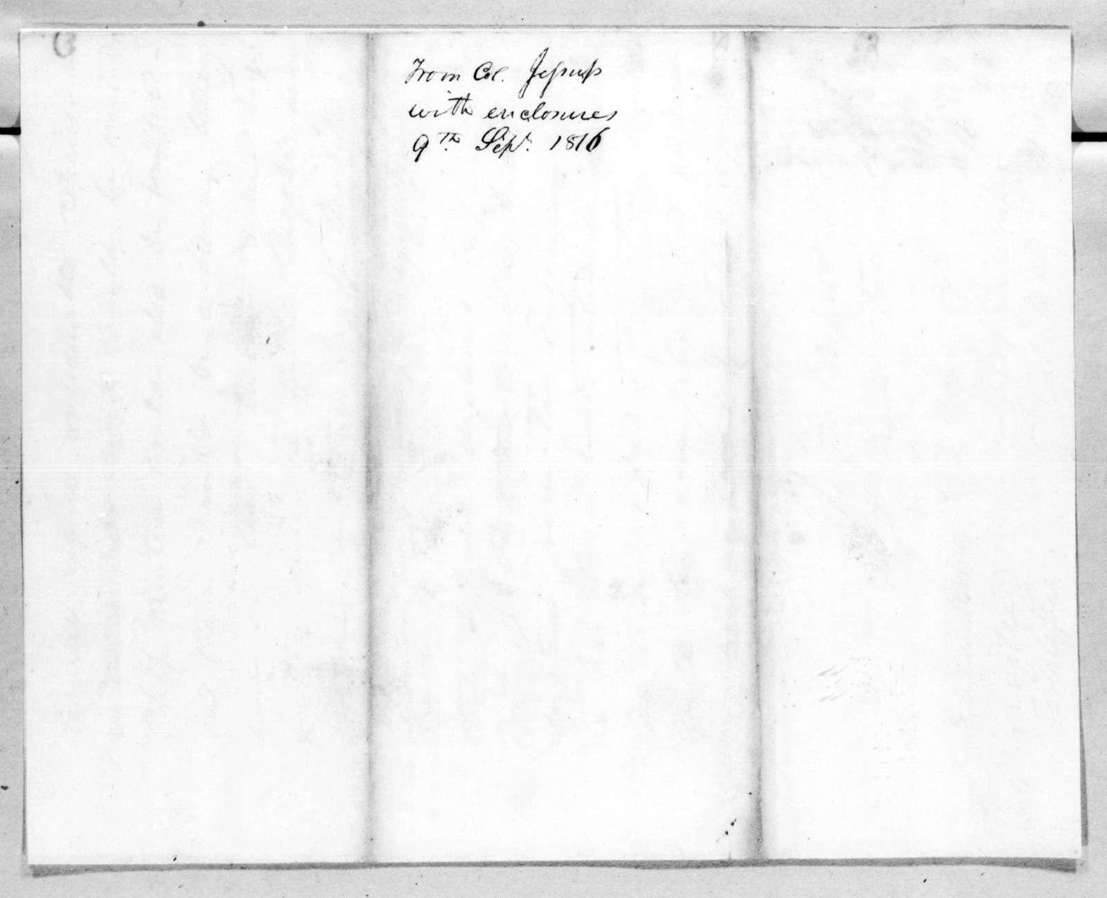 Thomas Sidney Jesup to Andrew Jackson, September 9, 1816