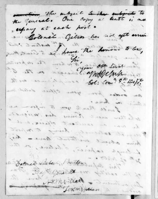 Thomas Sidney Jesup to Robert Butler, November 30, 1816