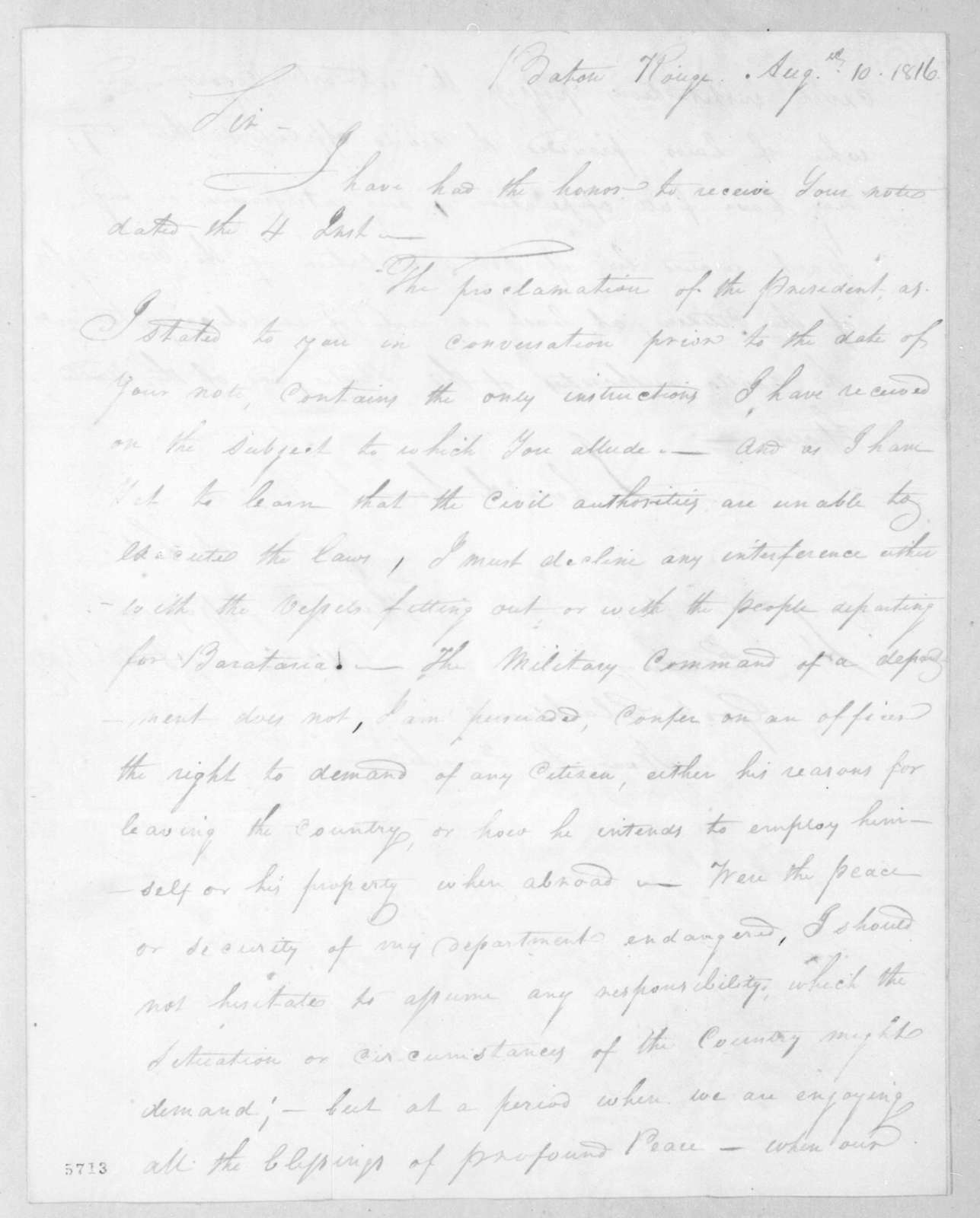 Thomas Sidney Jesup to William Charles Cole Claiborne, August 10, 1816