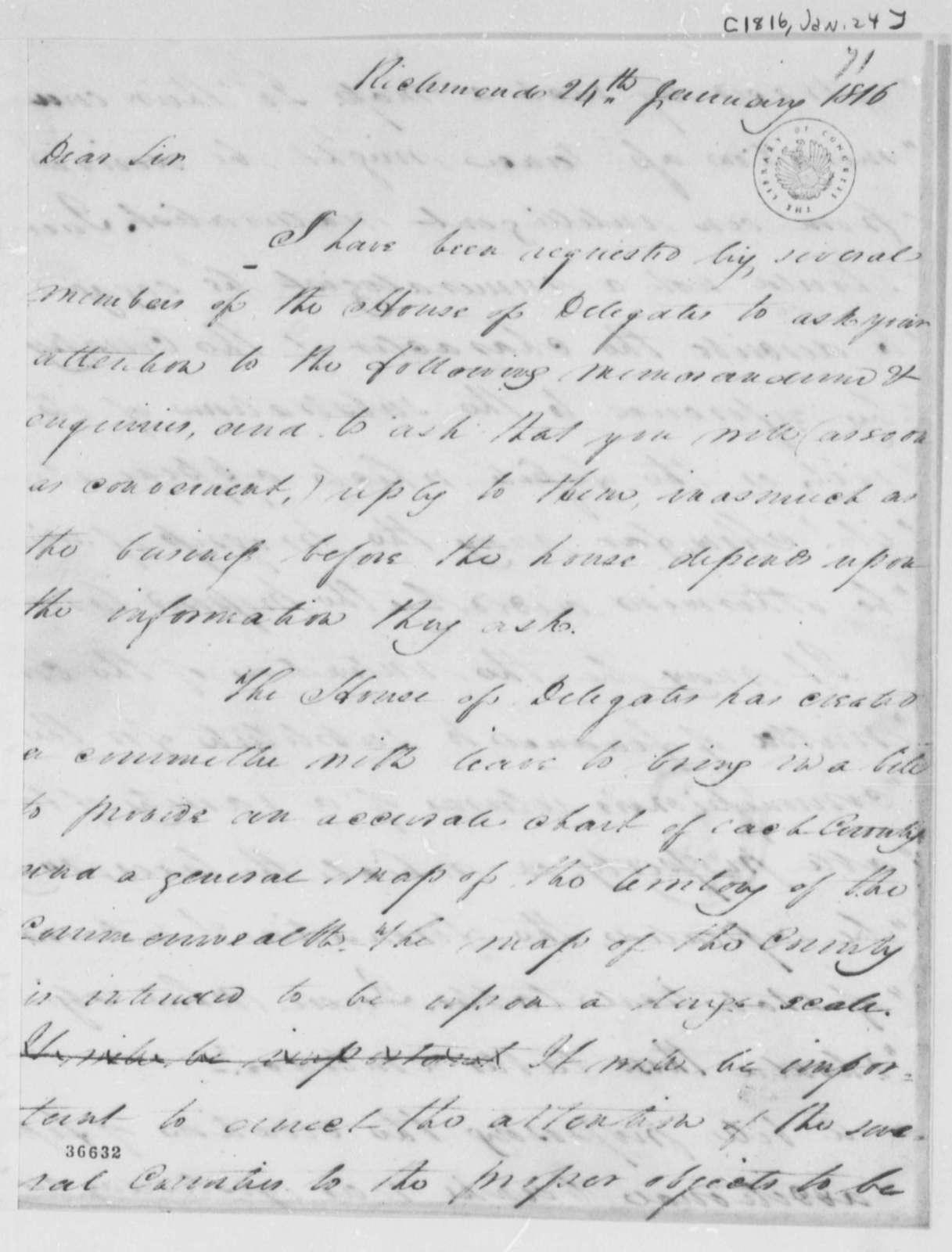 Thomas Walker Maury to Thomas Jefferson, January 24, 1816