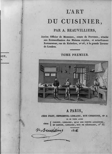 [Title page of Antoine Beauvilliers, L'Art du cuisinier, showing 4 men working in large kitchen]