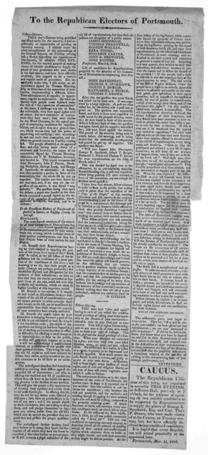 To the Republic electors of Portsmouth. Portsmouth, Mar. 11, 1816.