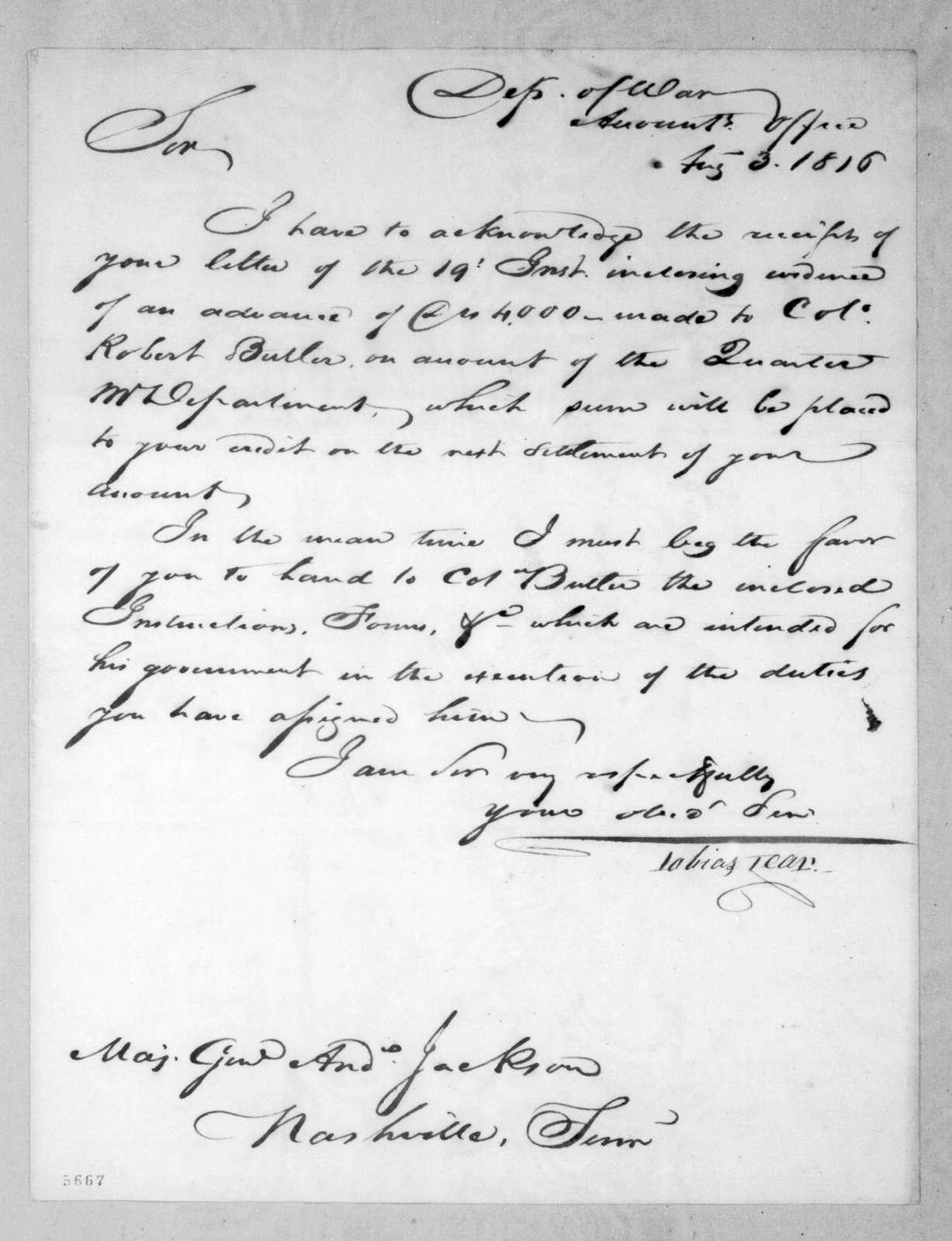 Tobias Lear to Andrew Jackson, August 3, 1816