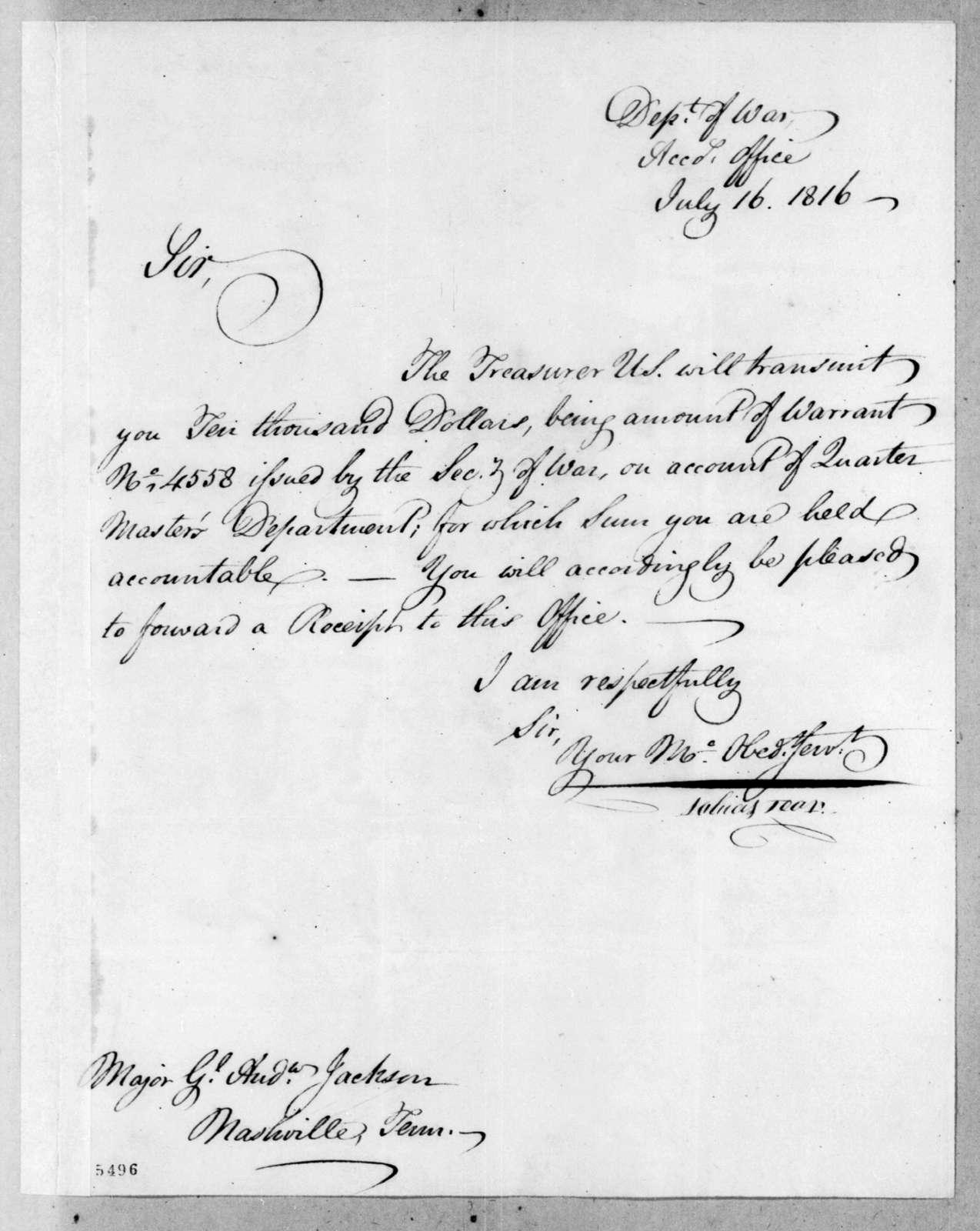 Tobias Lear to Andrew Jackson, July 16, 1816