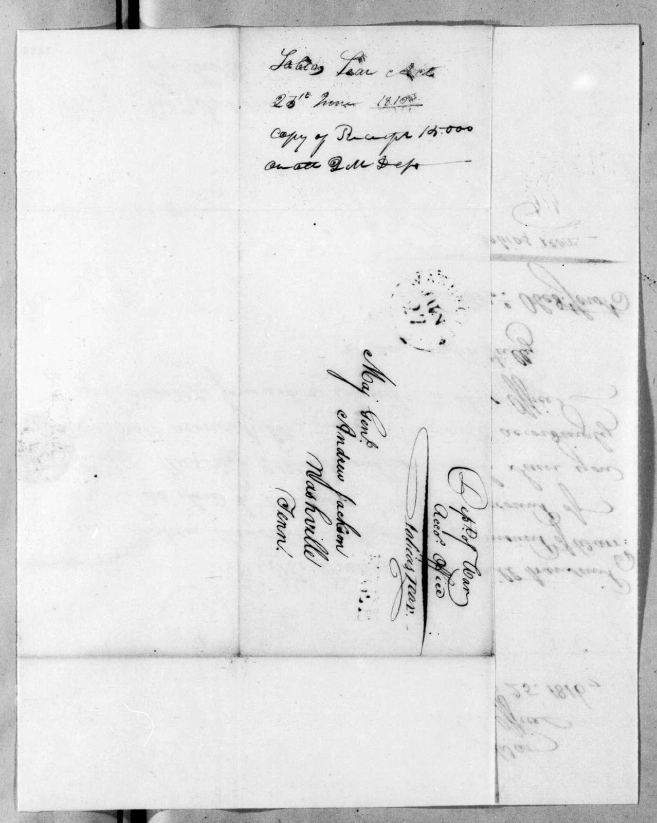 Tobias Lear to Andrew Jackson, June 25, 1816