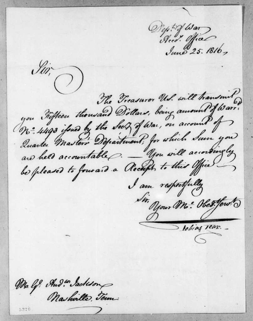 Tobias Lear to Andrew Jackson, June 25, 1816
