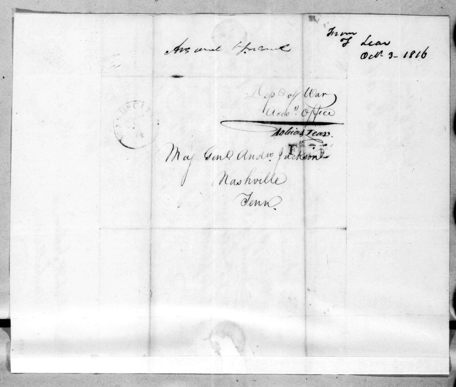 Tobias Lear to Andrew Jackson, October 3, 1816