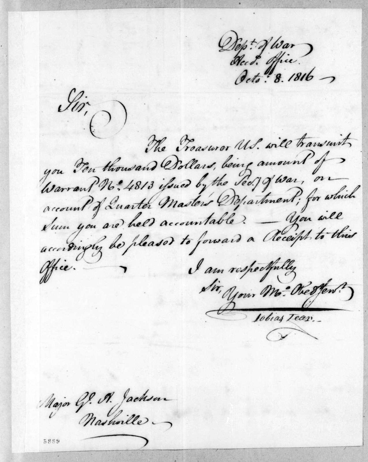 Tobias Lear to Andrew Jackson, October 8, 1816