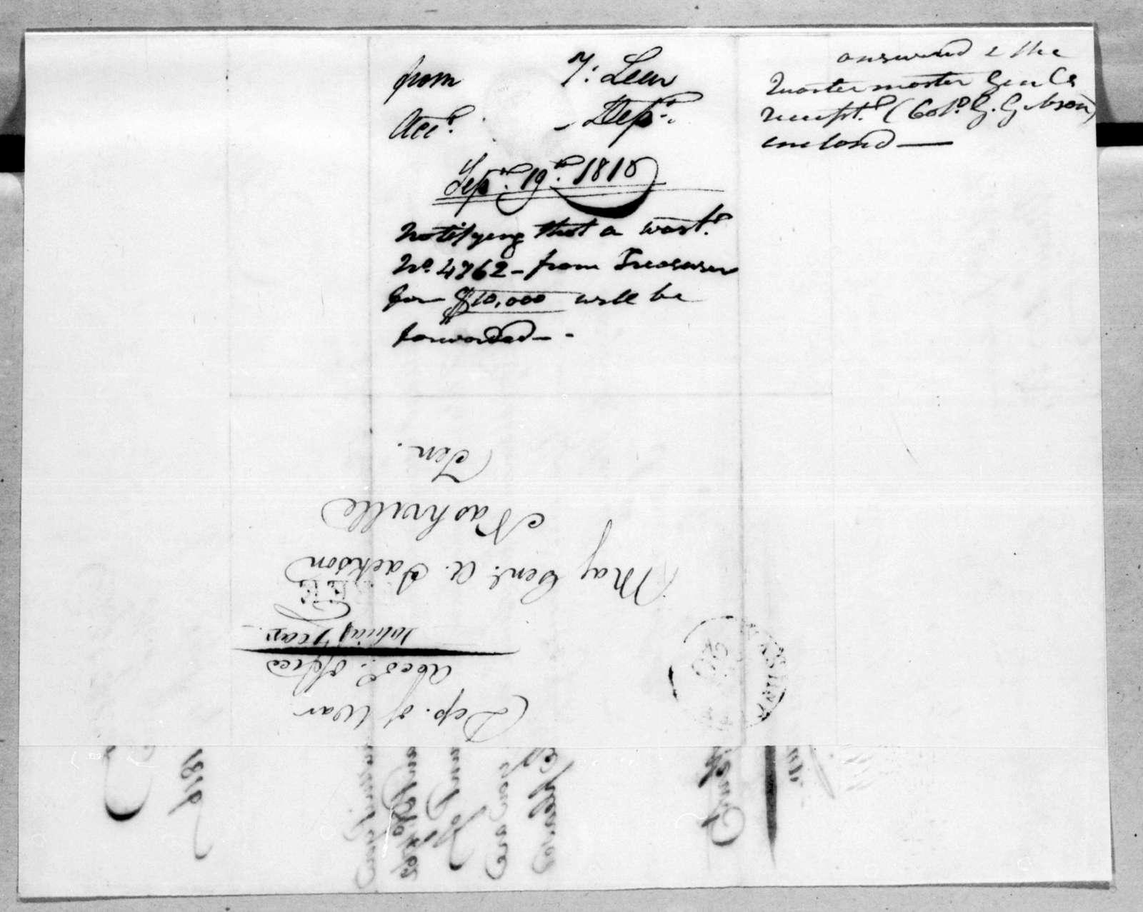Tobias Lear to Andrew Jackson, September 19, 1816