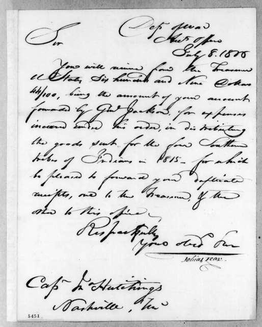 Tobias Lear to John Hutchings, July 8, 1816