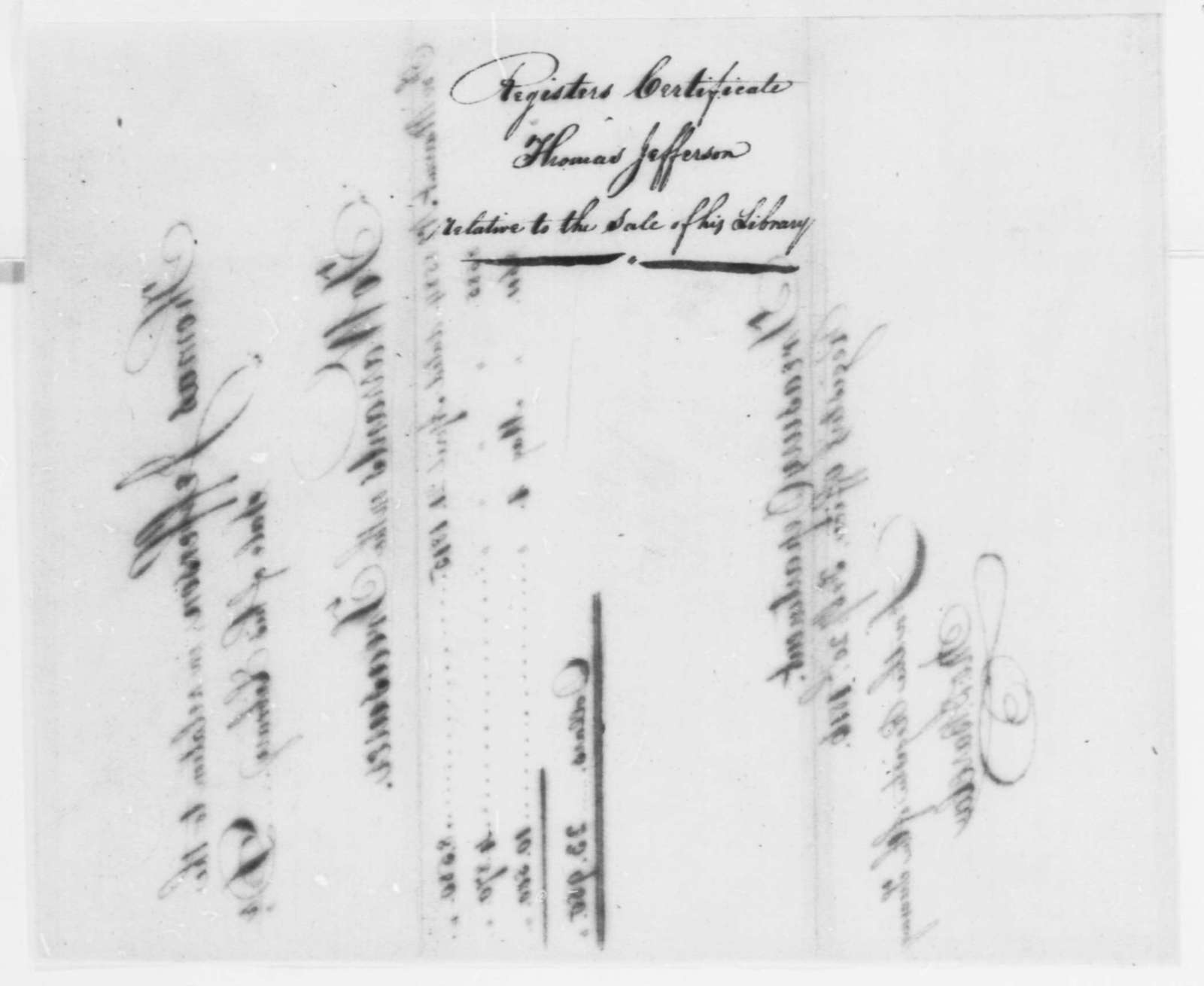 Treasury Department, February 20, 1816, Record of Warrants of Sale of Thomas Jefferson's Library