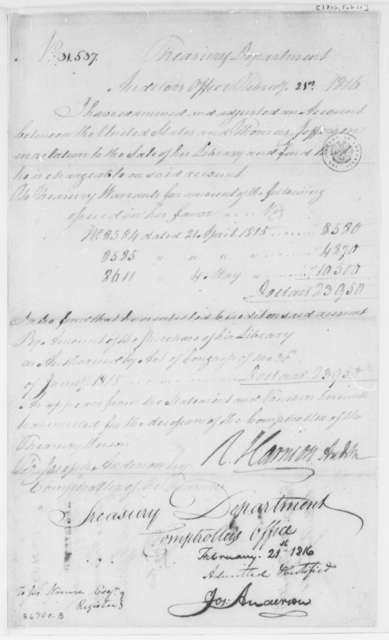 Treasury Department, February 21, 1816, Statement of Sale of Thomas Jefferson's Library
