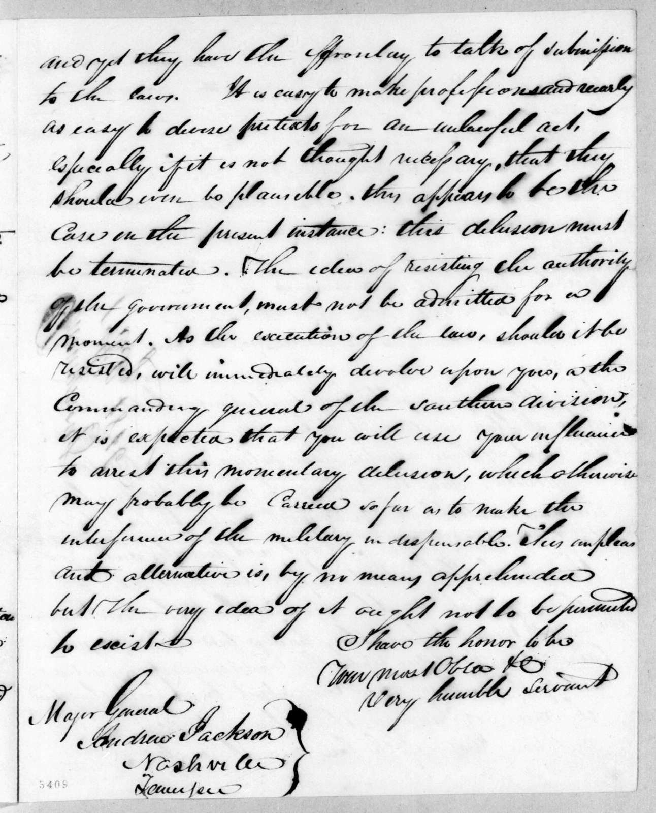 Unknown to Andrew Jackson, July 1, 1816