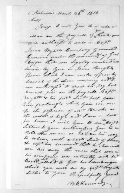 W. C. Kennedy to Robert Hays, March 23, 1816