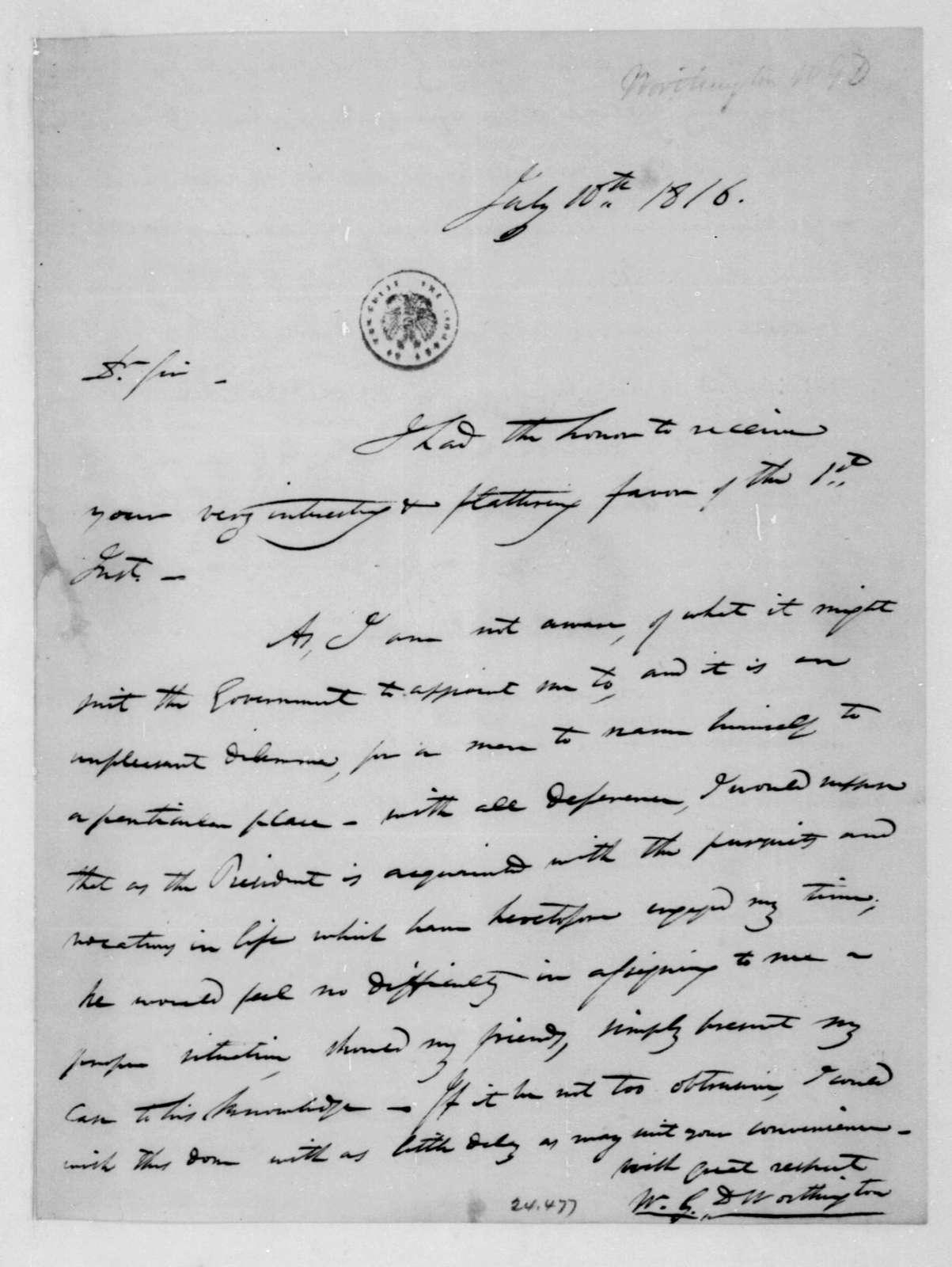 W. G. Worthington to Unknown, July 10, 1816.