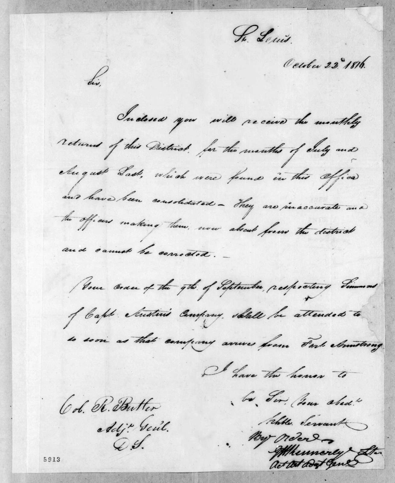 W. Kennedy to Robert Butler, October 22, 1816