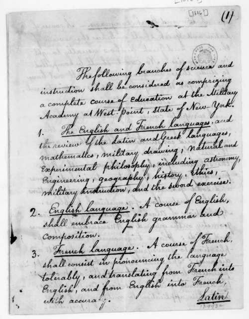 West Point Military Academy, New York. Listing of a complete course of education. 1816.