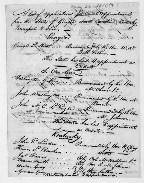 West Point, New York Military Academy, May 26, 1816. List of applications for cadet appointments by state.