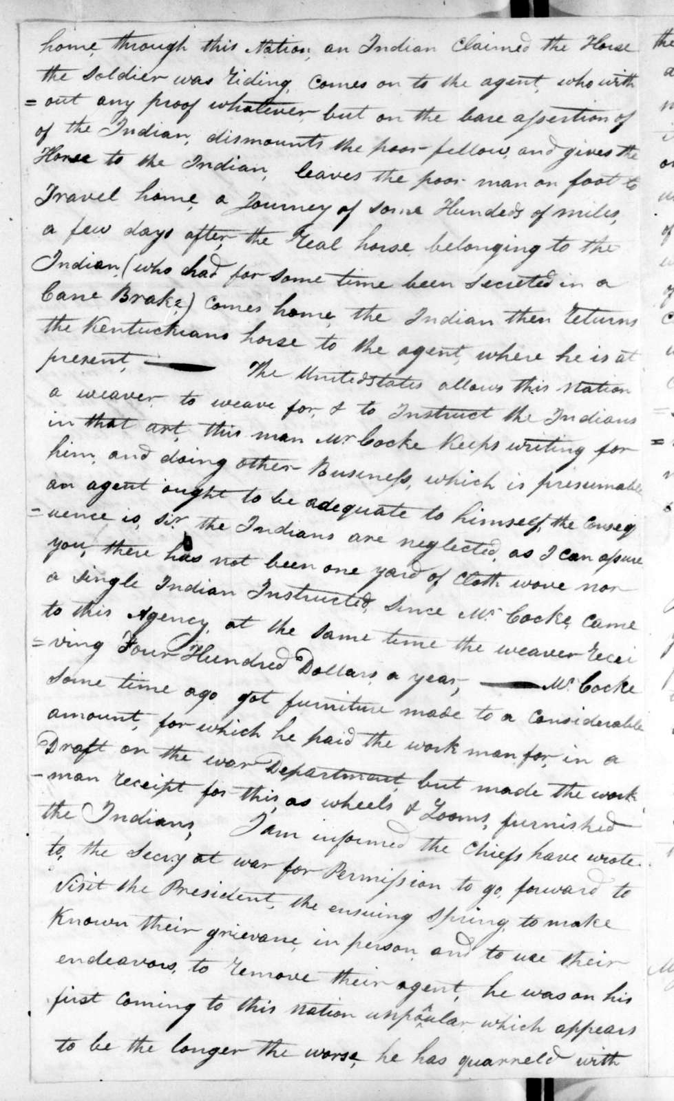 Wigton King to Andrew Jackson, February 12, 1816