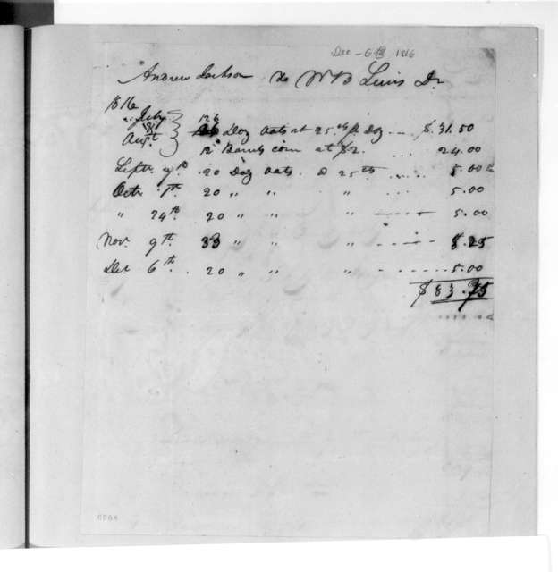 William Berkeley Lewis to Andrew Jackson, December 6, 1816