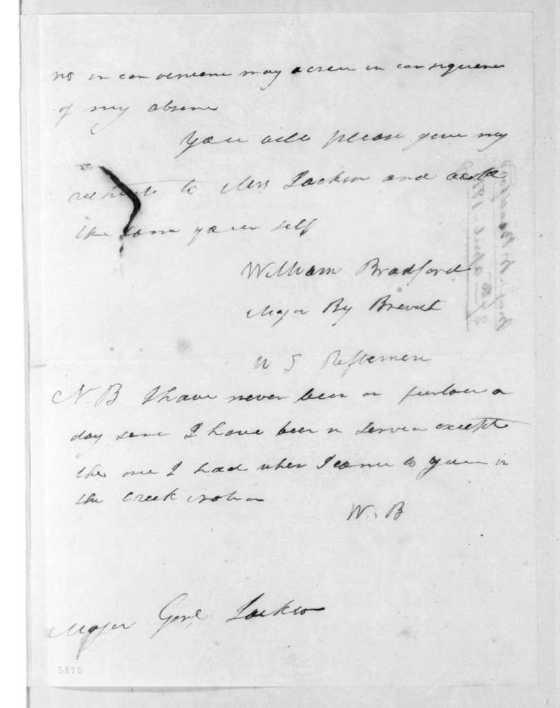 William Bradford to Andrew Jackson, April 27, 1816