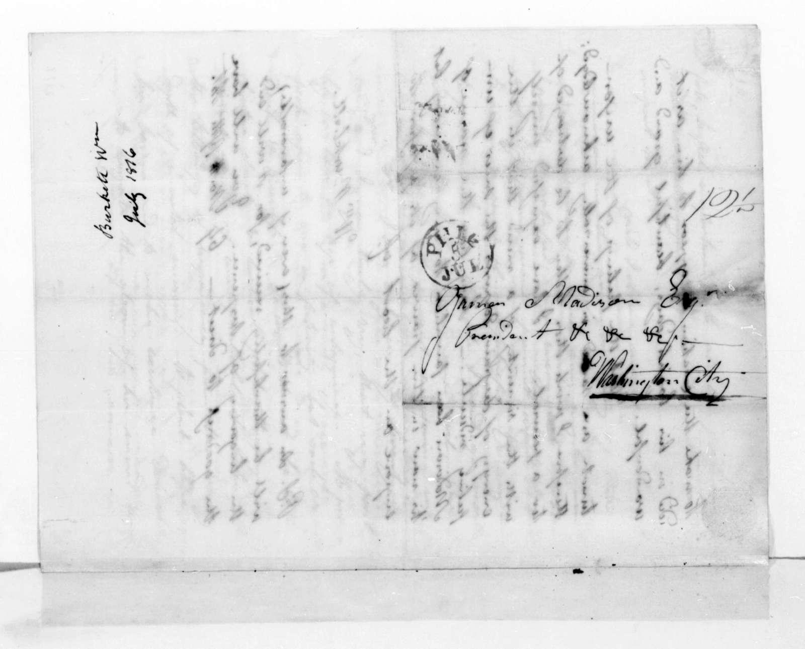 William Burtchett to James Madison, July 5, 1816.