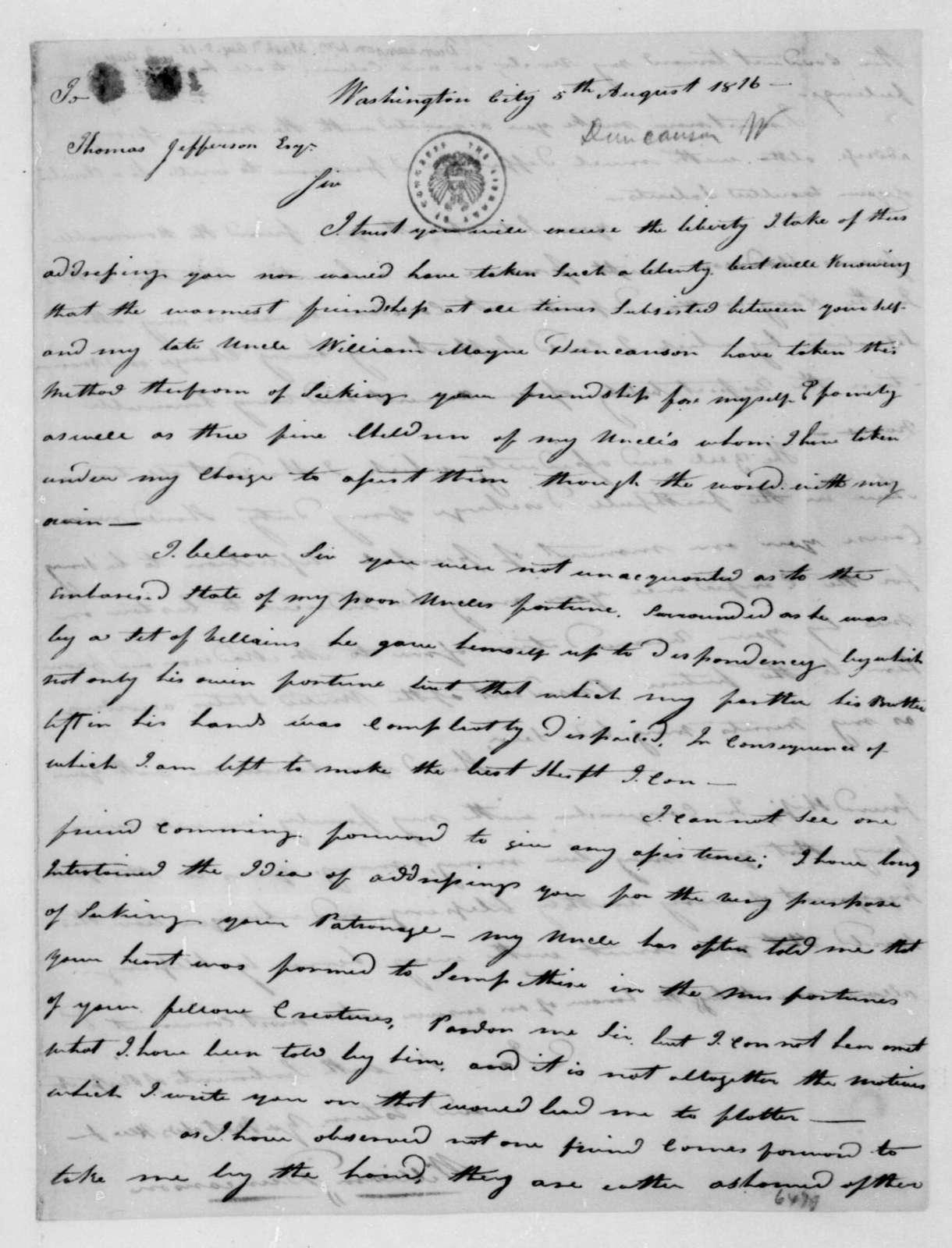 William Duncanson to Thomas Jefferson, August 5, 1816.