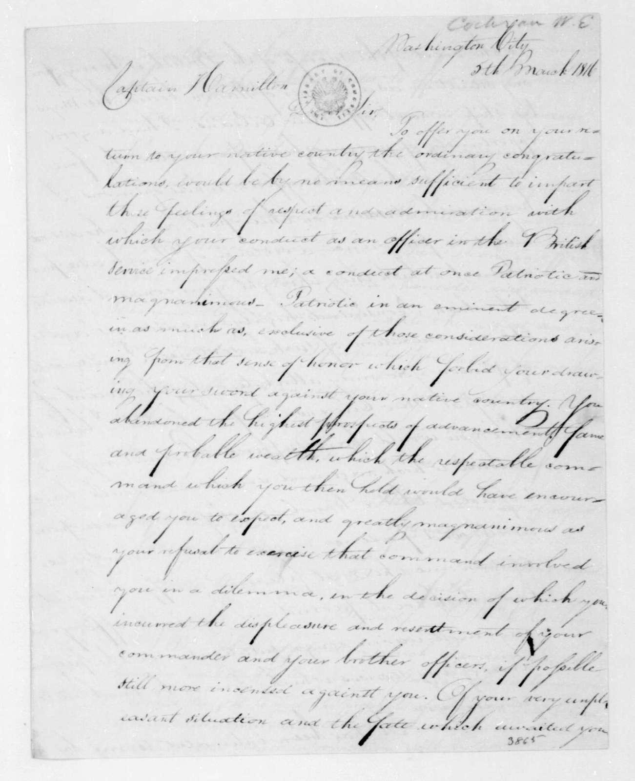 William E. Cochran to A. W. Hamilton, March 5, 1816.