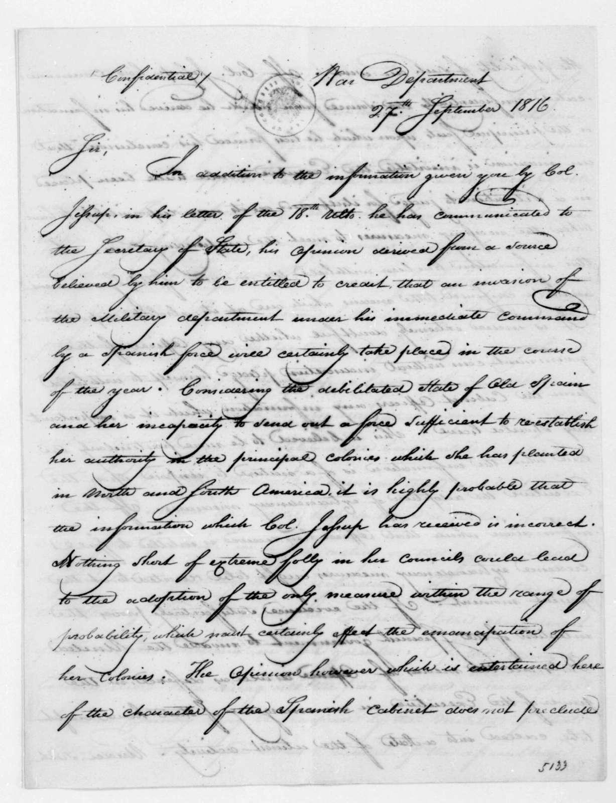 William H. Crawford to Andrew Jackson, September 27, 1816.