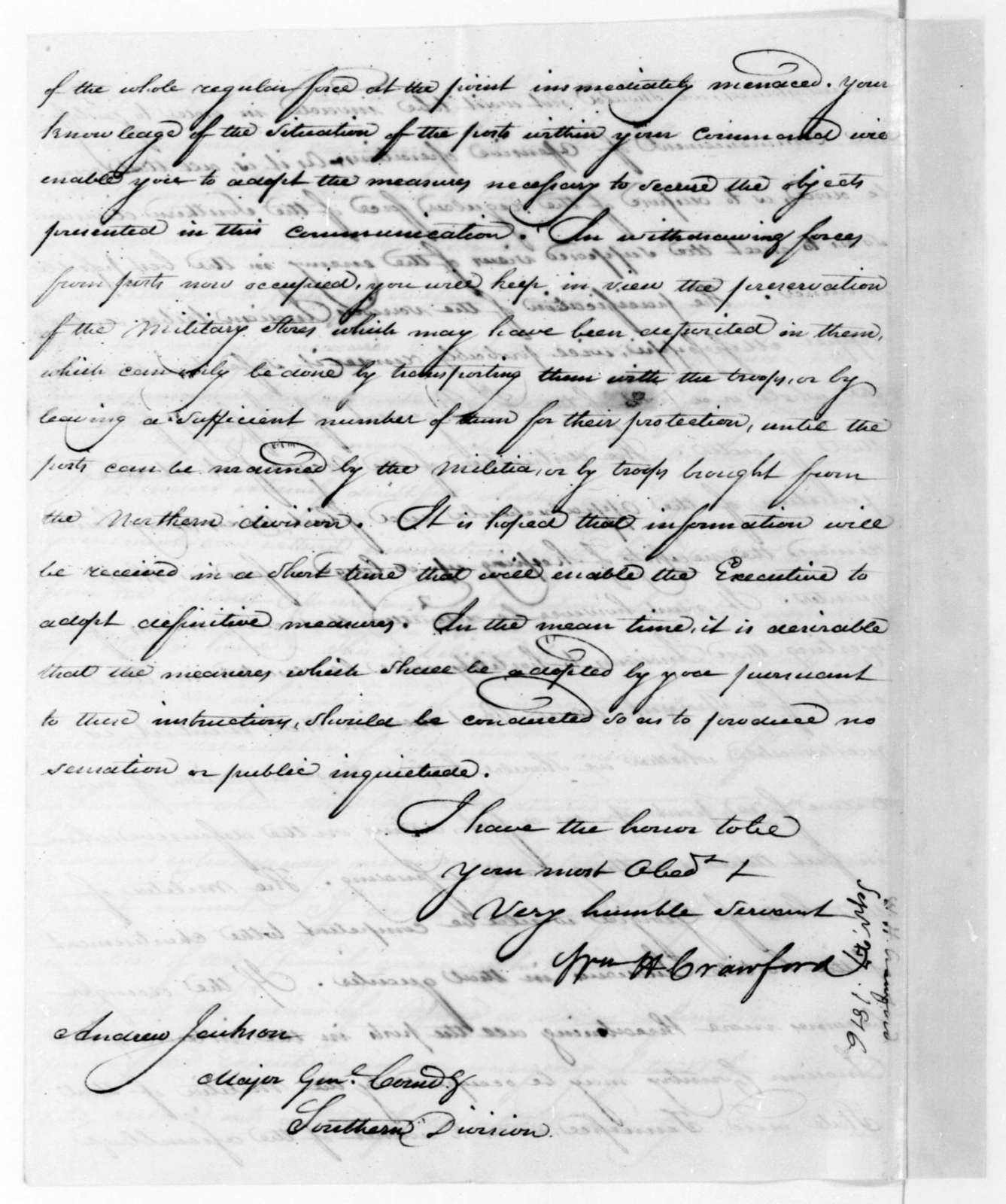 William H. Crawford to Andrew Jackson, September 27, 1816.