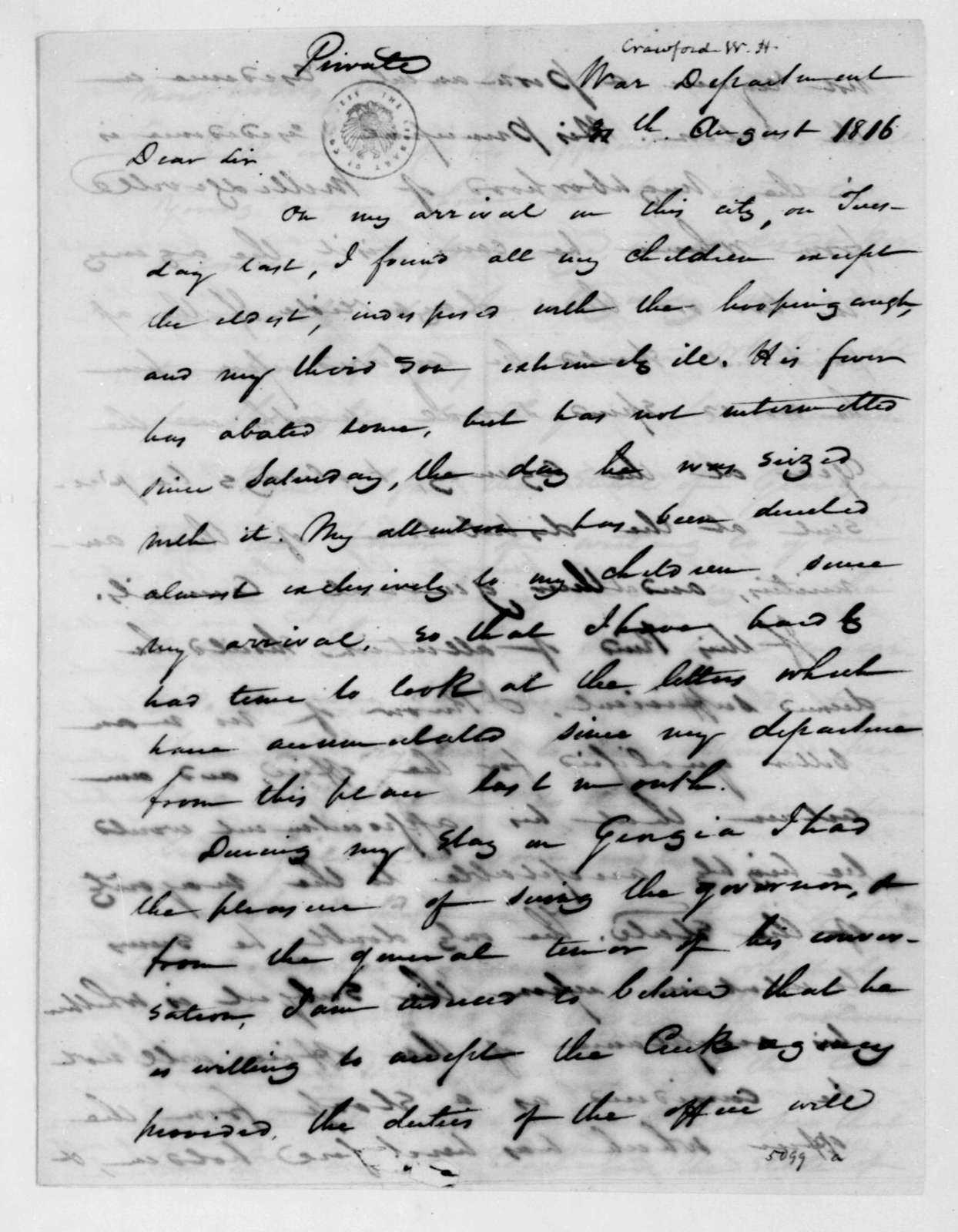 William H. Crawford to James Madison, August 30, 1816.