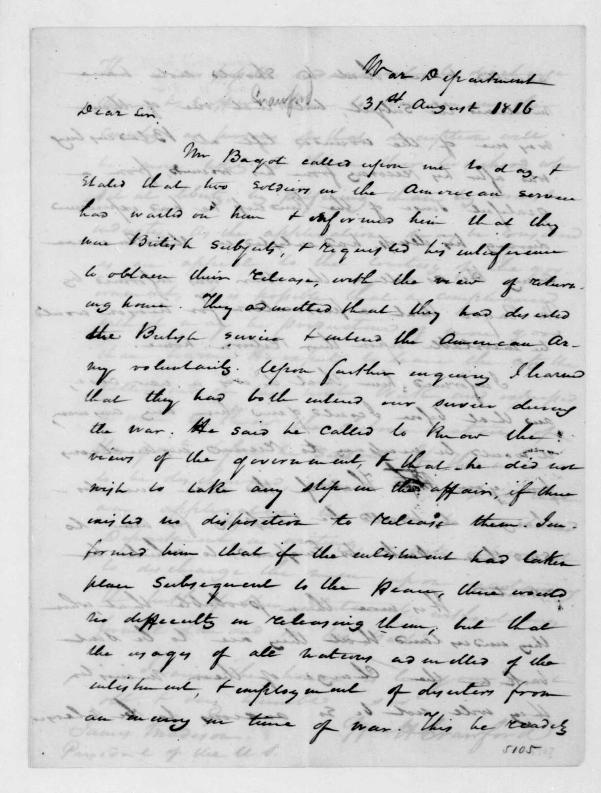 William H. Crawford to James Madison, August 31, 1816.
