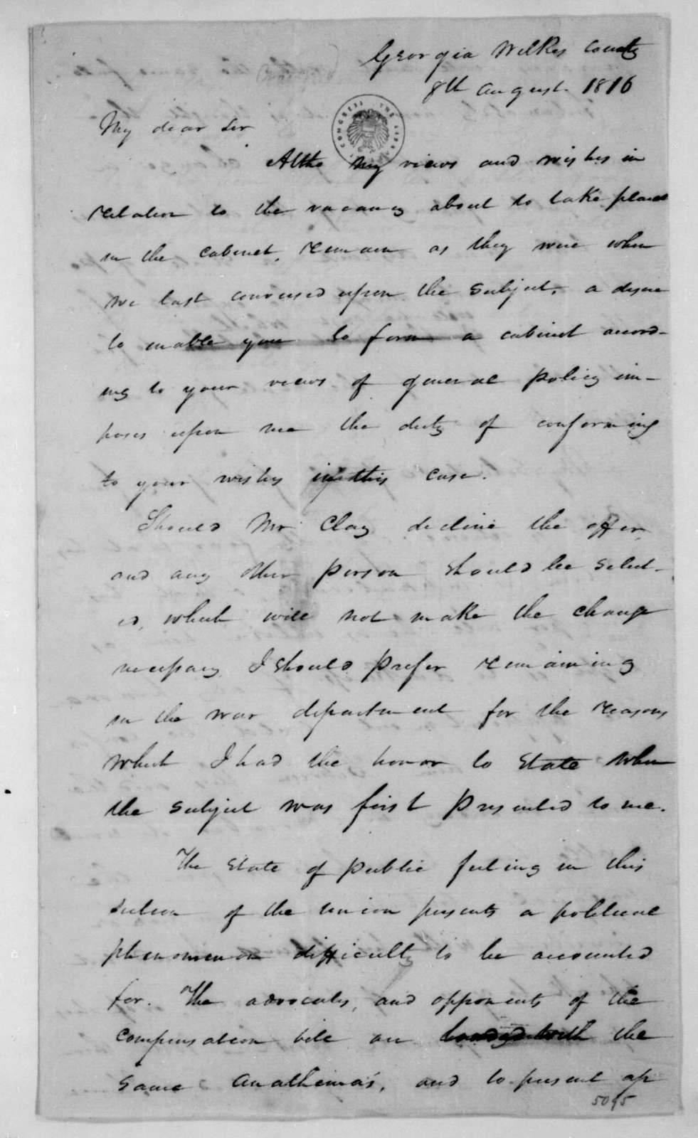 William H. Crawford to James Madison, August 8, 1816.