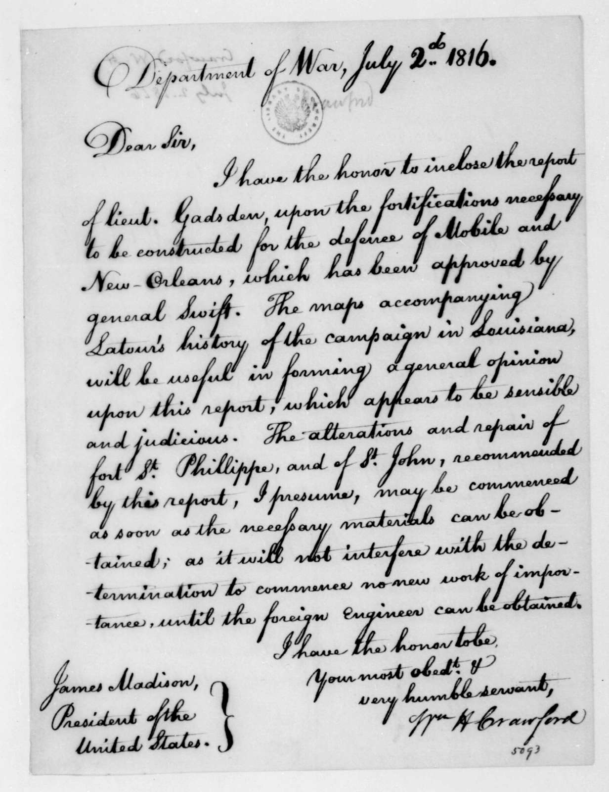 William H. Crawford to James Madison, July 2, 1816.