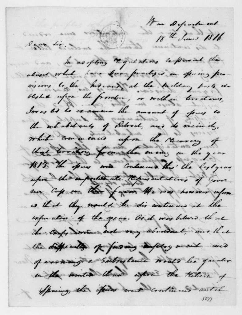 William H. Crawford to James Madison, June 18, 1816.