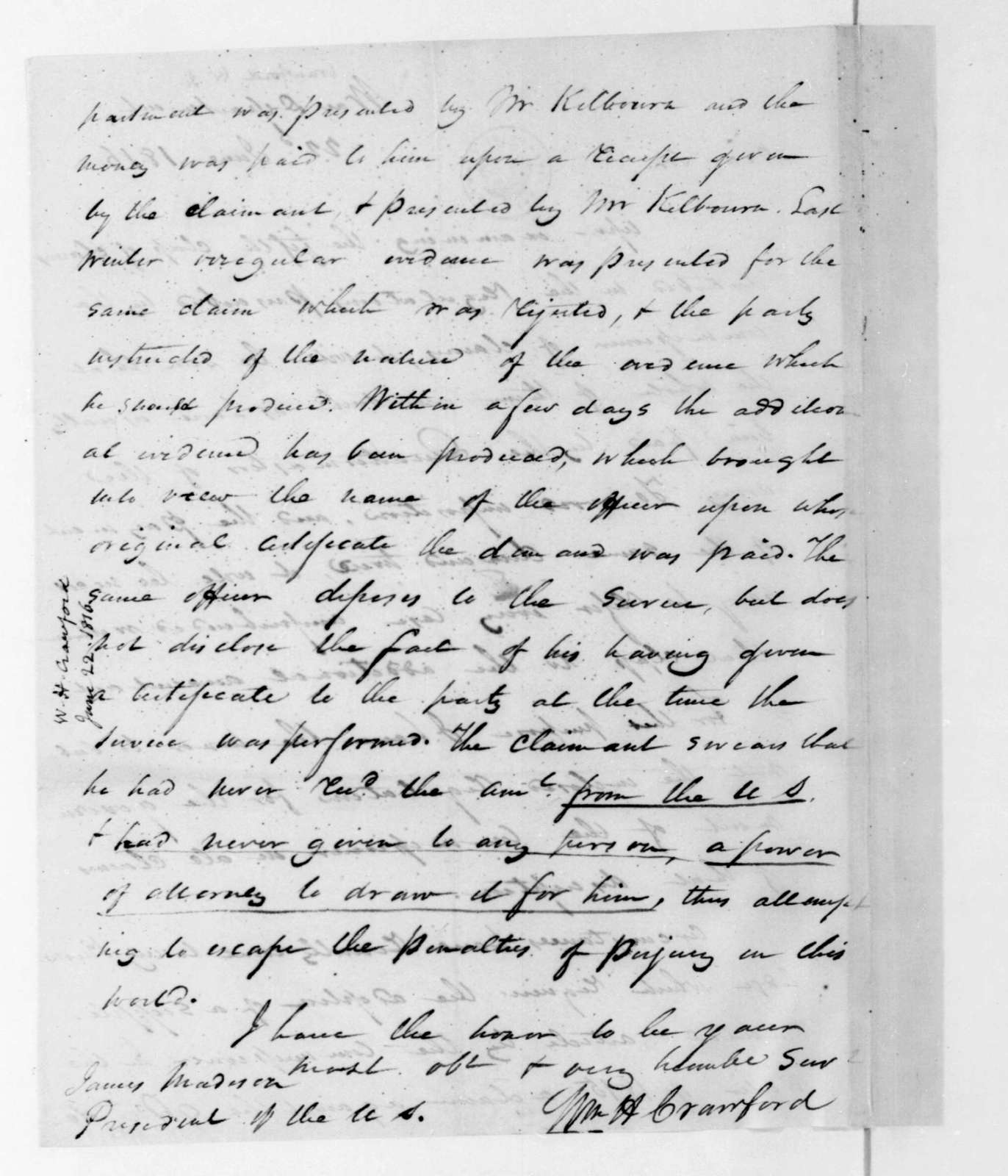 William H. Crawford to James Madison, June 22, 1816.
