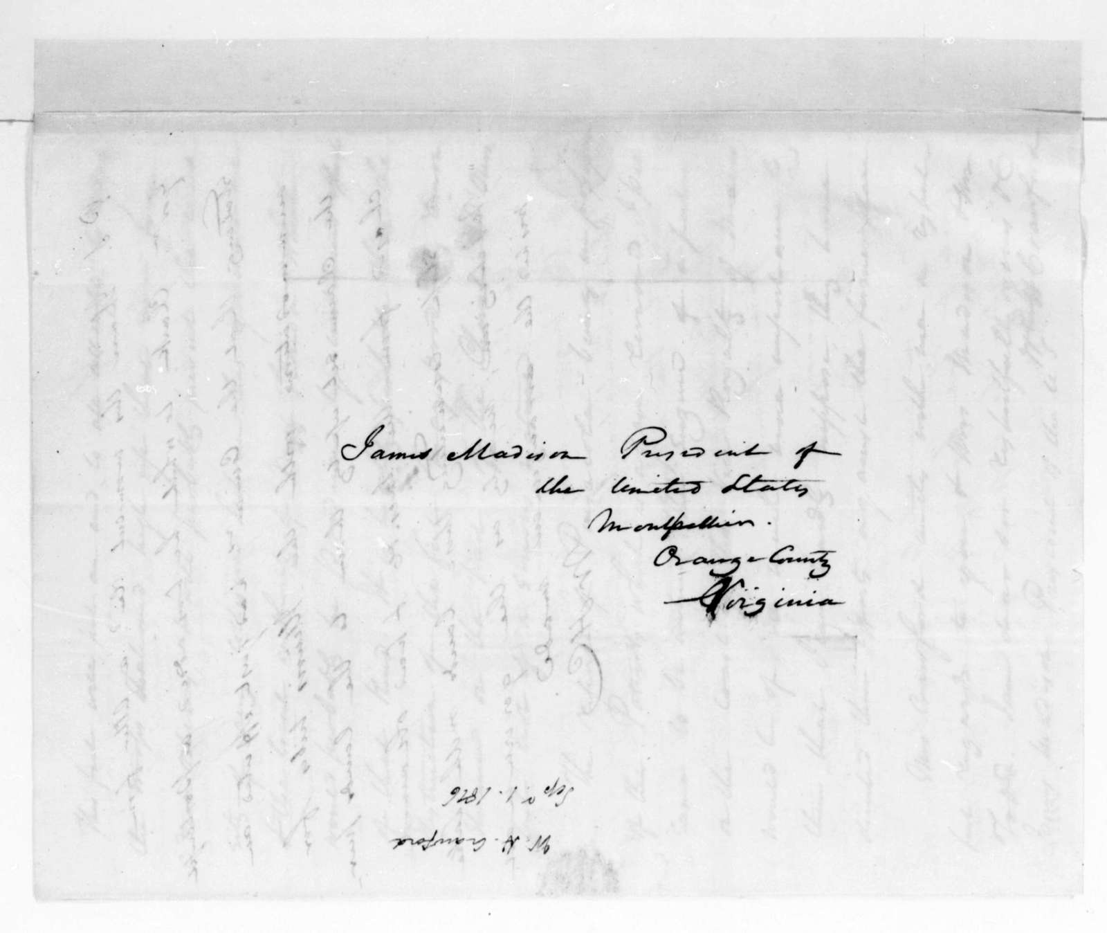 William H. Crawford to James Madison, September 19, 1816.