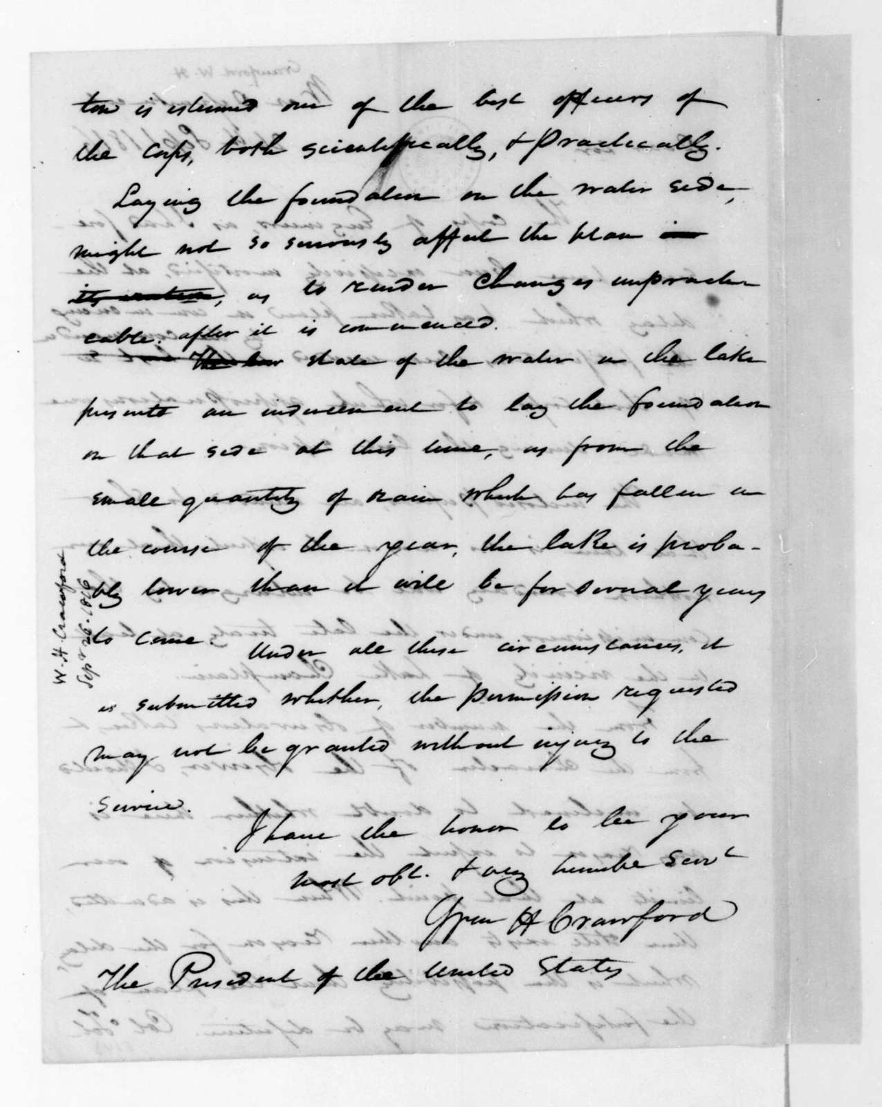 William H. Crawford to James Madison, September 26, 1816.
