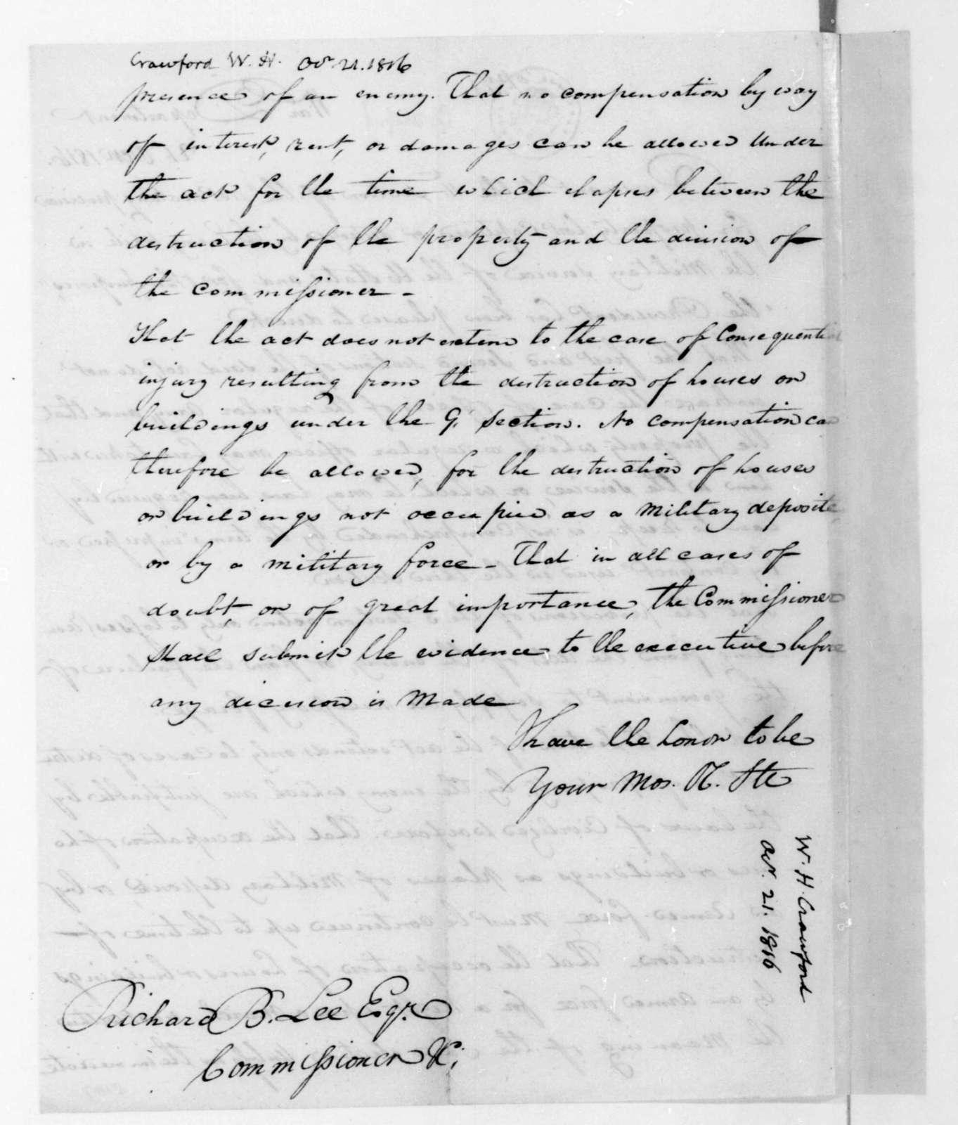 William H. Crawford to Richard Brand Lee, October 21, 1816.
