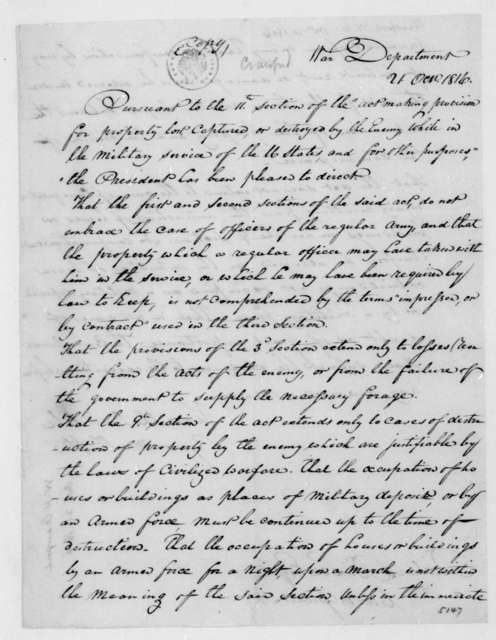 William H. Crawford to Richard Brand Lee, October 21, 1816.