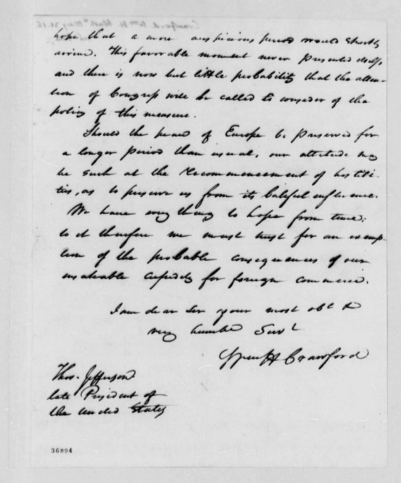 William H. Crawford to Thomas Jefferson, May 31, 1816