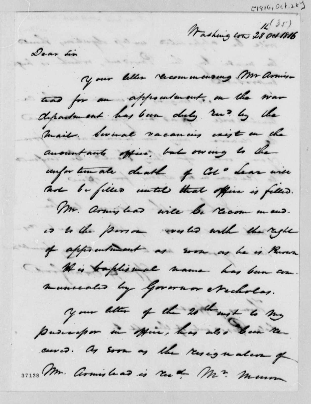 William H. Crawford to Thomas Jefferson, October 28, 1816