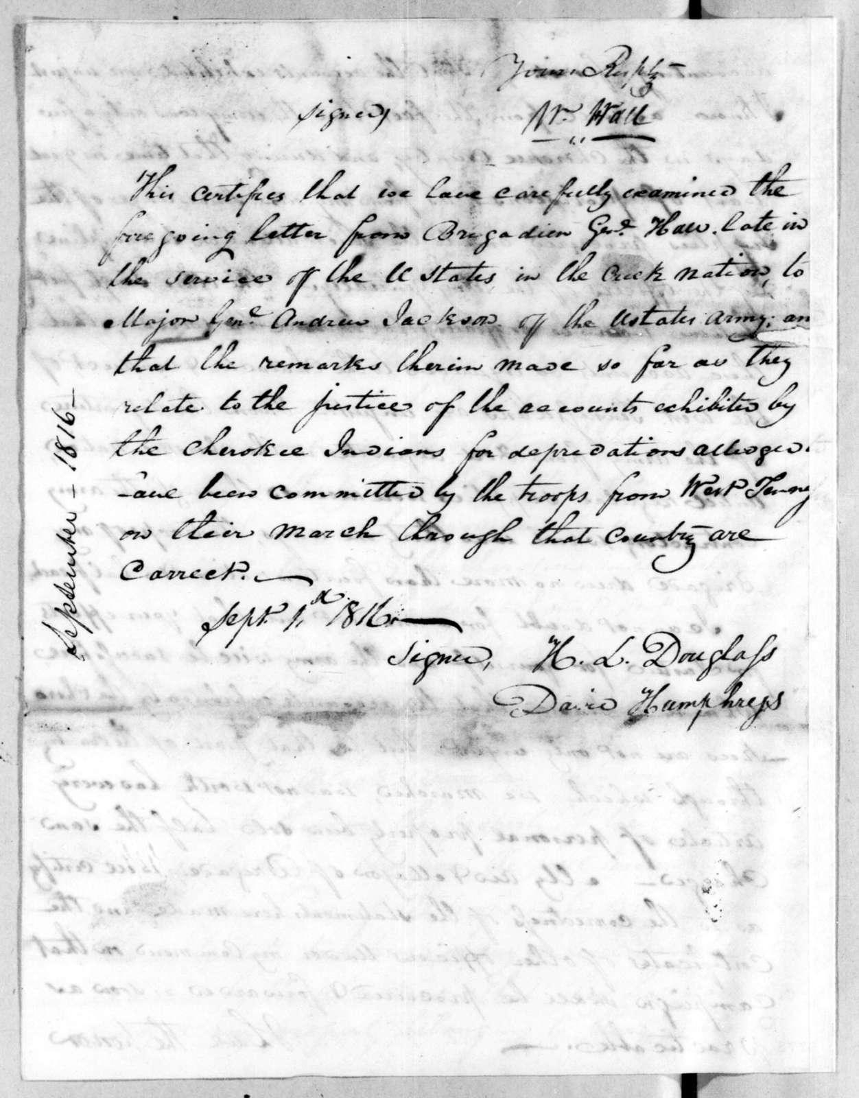 William Hall to Andrew Jackson, August 28, 1816