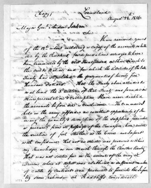 William Hall to Andrew Jackson, August 28, 1816
