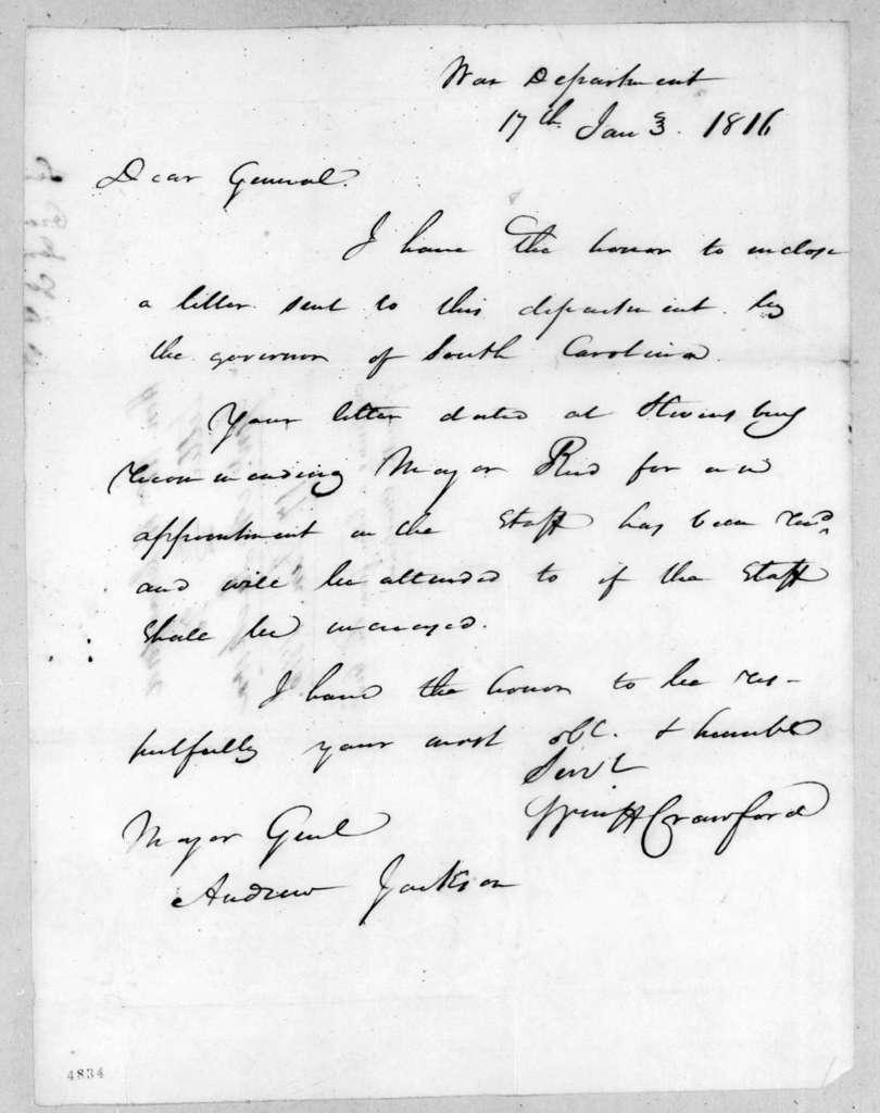 William Harris Crawford to Andrew Jackson, January 17, 1816