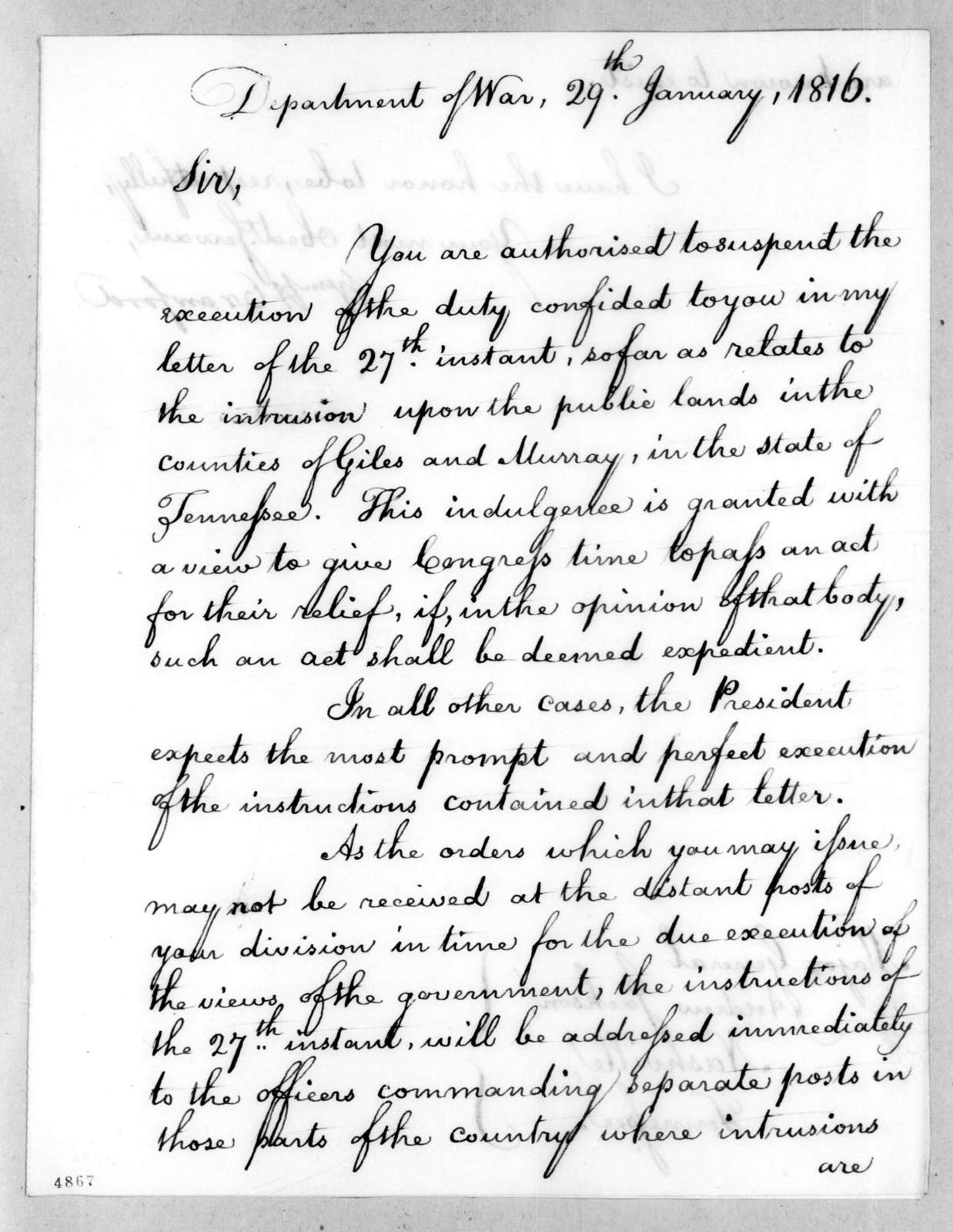 William Harris Crawford to Andrew Jackson, January 29, 1816