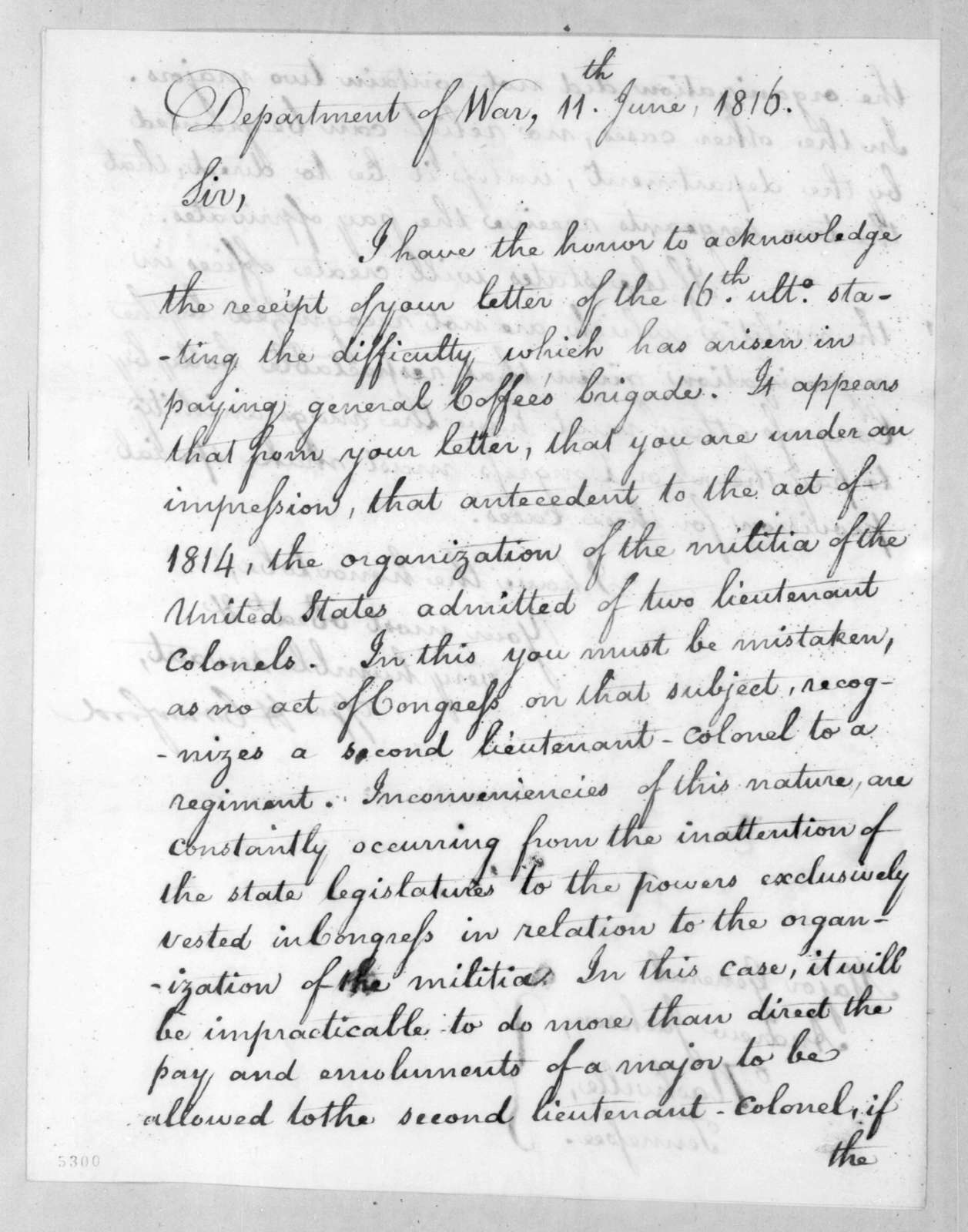 William Harris Crawford to Andrew Jackson, June 11, 1816