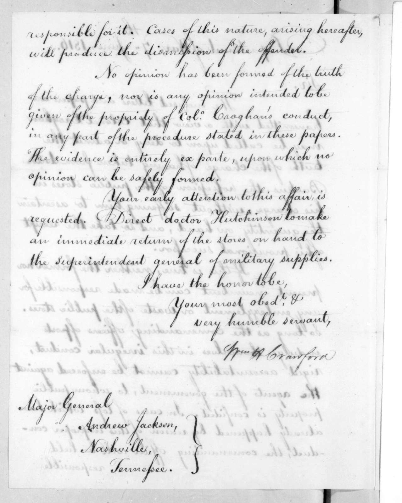 William Harris Crawford to Andrew Jackson, June 7, 1816